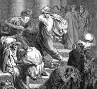 Compratori e venditori cacciati dal Tempio - Dore